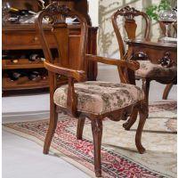 海德利美式乡村餐桌椅实木扶手餐椅餐厅家具雕花布艺酒店椅子咖啡椅