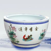 景德镇陶瓷颜色釉手工雕刻大缸养鱼金鱼书画缸花盆风水缸摆件