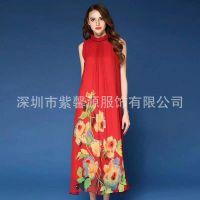 深圳当季真丝连衣裙到货宽松版女装品牌折扣批发
