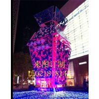 订制不锈钢化光青花瓷雕塑户外广场景观雕塑大型抽象摆件苏州雕塑制作