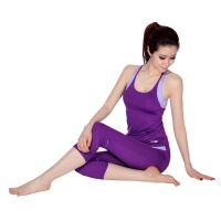 高档女士瑜伽服 休闲瑜伽套装订做 厂家定做纯棉室内外健身服 东莞富霖服装公司