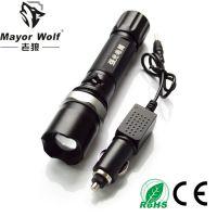 供应厂家批发 警用强光充电手电筒 led战术手电筒自行车手电筒
