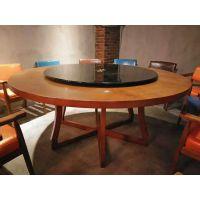 酒店饭店宴会桌简易实木大圆桌包间八人位十二人位木制大圆桌