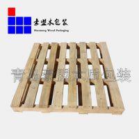 青岛托盘 实木厂家出售二面进叉二手木托盘仓储集装箱专用木托盘