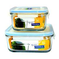 广州厂家供应高硼硅耐热玻璃饭盒带隔断两件套 微波炉保鲜碗学生便当盒可定制