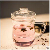 玻璃玻璃杯 三件式泡茶杯 过滤带盖花茶杯