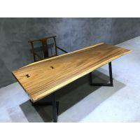 实木茶桌 胡桃木老板办公桌会议桌原木大板书吧台乌金木整板餐桌