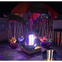 广场儿童游乐旋转飞鱼 遥控电动游乐设备旋转飞椅秋千鱼 电动木马吊椅广场飞鱼