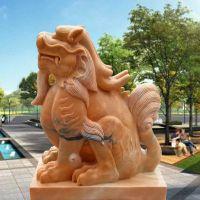 石雕貔貅晚霞红门口招财镇宅神兽貔貅摆件一对曲阳万洋雕刻厂家现货加定做