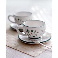 冬青浆果陶瓷咖啡杯碟浮雕手绘陶瓷花茶茶具支持混批一件代发