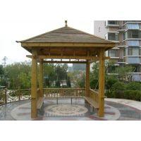 广州方贸园林定做组装防腐木景观木亭|小区休闲凉亭|碳化木六角凉亭
