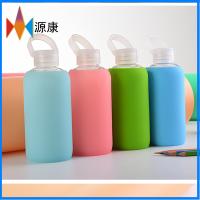 源康硅胶生产果冻杯 防烫防摔硅胶套玻璃杯 带提盖果冻玻璃杯