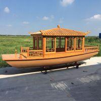 古舟木船 GZ-HF-012玻璃钢小型画舫电动自驾观光旅游休闲仿古木船