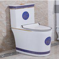 陶瓷卫浴新款彩色连体高档蓝色座便器马桶