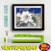 带框中国画 李晓明工笔花鸟字画荷花 现代客厅卧室餐厅装饰画d244