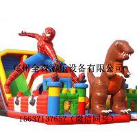 厂家定做充气蜘蛛侠主题滑梯充气玩具儿童滑梯儿童乐园城堡气模