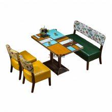 湛江甜品店桌椅沙发订做,简约布艺扶手沙发桌子