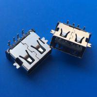 4PIN正反插母座/USB AF双面插母座/A母两面插/沉板式/前贴后插DIP直边黑胶