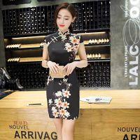 杭州一线品牌季蒂18春夏高档绸缎旗袍一手品牌折扣货源