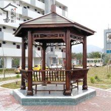 供应广州樟子松3米5六角景观凉亭,别墅庭院现货凉亭厂家