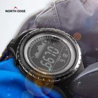 NORTH EDGE【RIDGE系列】黑色橡胶户外智能运动手表男士多功能登山徒步夜光表