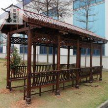 玻璃钢树脂瓦景观木结构长廊,防腐木休闲连廊