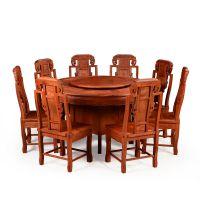 红木餐桌花梨木圆桌中式仿古圆台家用实木雕花原木家具餐桌椅组合