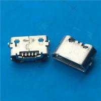 反向直边Micro USB母座5PB型反向插板7.7mm4.85两脚-牛角SMT