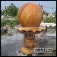 晚霞红石雕风水球转运流水球雕塑庭院小区风水摆件