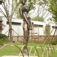 现代人物园林景观雕塑 玻璃钢仿古铜人物雕塑定做