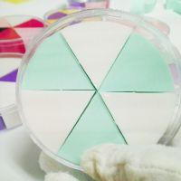 亲水棉化妆粉扑平面海绵24个三角形粉扑 扇形六块拼色圆形粉扑
