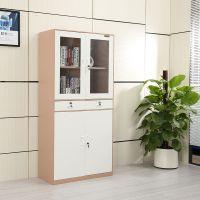 沛瑾家具时尚文件柜粉色中二斗拆装窄边香槟色带玻璃铁皮柜子