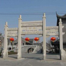 农村村口大门 石材柱子牌坊大门 浮雕门牌楼