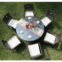进口藤编一桌六椅休闲桌椅 广州户外家具 藤编桌椅