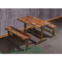 复古实木餐桌椅主题餐厅快餐桌椅西餐厅咖啡厅桌椅创意餐桌椅