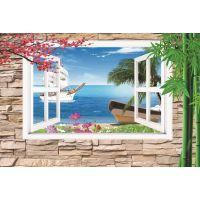 壁画批发、酒店壁画、工程壁画、餐厅茶艺馆主题8D窗外风景壁画厂
