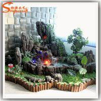 小型假山流水喷泉鱼池 室内园林玻璃钢假山流水喷泉