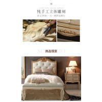 齐居置家欧式床头柜实木简欧床头收纳柜美式床边柜新古典卧室储物