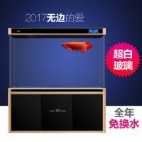 中型现代水晶水族箱家用超白铝合金缸含景鱼缸定制玻璃封闭式水族箱-龟与熊猫