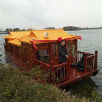 大型观光画舫船 殿宝仿古客船 公园景区电动木船价格