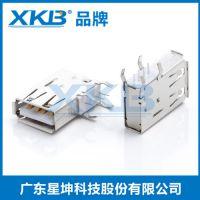 供应香港星坤USB2.0母座 A型母座 10.0短体 后插90度插座