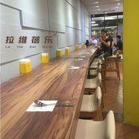 甜品店吧桌面包店实木吧桌吧椅定制
