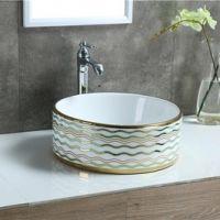 酒店公寓卫生间陶瓷新款圆形台上电镀洗手艺术盆