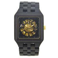 方形防水男士商务全自动镂空机械木质手表