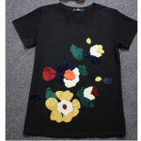 定制夏装新款 复古花朵 纯棉宽松短袖T恤女上衣 大码胖MM女装