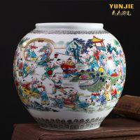 景德镇陶瓷器仿古百子图大花瓶中式古典客厅家居装饰摆件结婚礼物