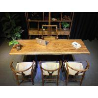 乌金木实木大板家具办公桌书桌写字台画案老板桌餐桌斑马木茶桌茶台茶几大班桌会议桌吧台前台桌电脑桌170