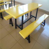学生食堂餐桌椅 学校餐厅连体餐桌4人位 户外玻璃钢餐桌 广告桌椅