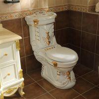 欧式洁具陶瓷土豪金色浮雕豪华分体直冲马桶座便器