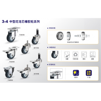 3~5寸 中型尼龙芯橡胶轮 耐磨 环保 静音 避震